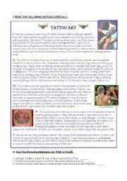 English Worksheet: tattoo art reading comprehension