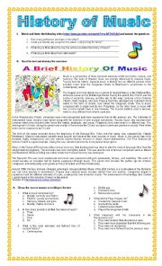 English Worksheet: The History of Music