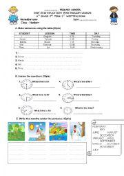 English worksheet: 4th grade exam paper 1