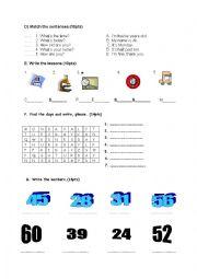 English worksheet: 4th grade exam paper 2