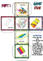 English Worksheet: School Items DICE GAME (1-3)