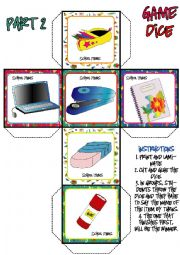 School Items DICE GAME (2-3)