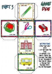 English Worksheet: School Items DICE GAME (3-3)