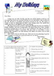 English Worksheet: My holidays - reading a postcard