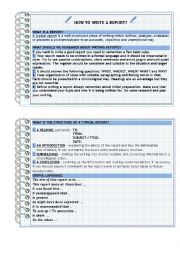 English Worksheet: HOW TO WRITE A REPORT - A SHORT GUIDE