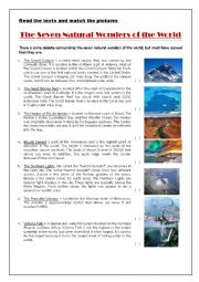 English Worksheet: Seven Natural Wonders
