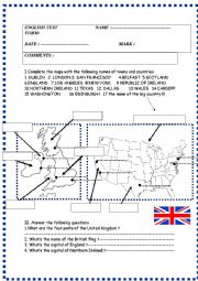 English Worksheet: English speaking world :test