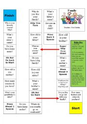 English worksheet: Family board game - questions about your family