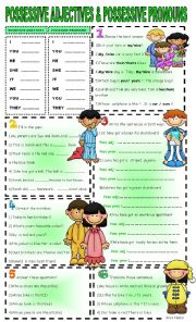 English Worksheet: possessive adjectives vs possessive pronouns