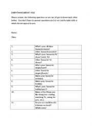 English Worksheet: Everything about you - ice-breaker
