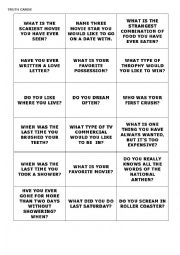 English Worksheet: Truth or Dare Game