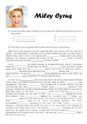 English Worksheet: Miley Cyrus� Biography + Wrecking Ball Song Worksheet