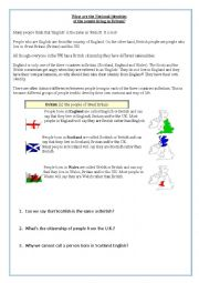 English Worksheet: British, English, Scottish or Wesh?