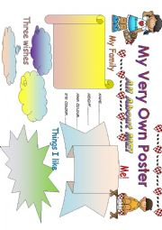 English Worksheet: All about ME poster