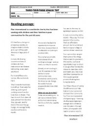 English Worksheet: a nice text about charity
