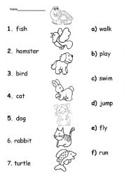English Worksheet: pets and actions