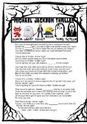 English Worksheet: HALLOWEEN! THRILLER LISTENING ACTIVITY (Michael Jackson)