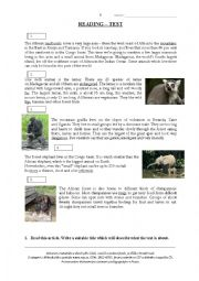 English Worksheet: Endangered Species