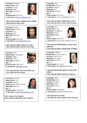 Artists Information Cards - Find someone who...