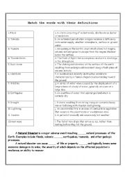 English Worksheet: Matching: Natural Disaster