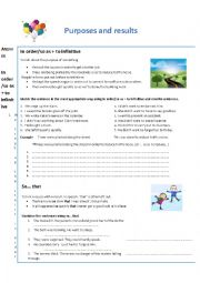 English Worksheet: Purposes and results