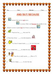 English Worksheet: Conjunctions - But/Because/And