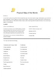 English Worksheet: Sketch map of the world