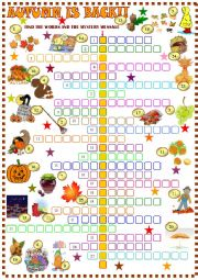 English Worksheet: Autumn  crossword puzzle