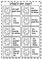 English Worksheet: What�s the time? - dominoes
