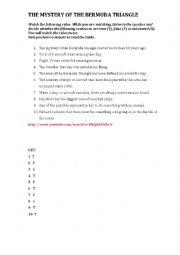 English Worksheet: THY MYSTERY OF THE BERMUDA TRIANGLE
