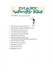 English Worksheet: Webquest Diary of a wimpy kid