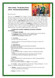 English Worksheet: THE BIG BANG THEORY SEASON:2 EPISODE:14