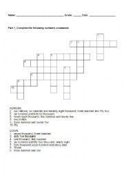 English Worksheet: Big Numbers Crossword