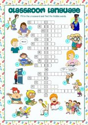 English Worksheet: Classroom Language Crossword Puzzle