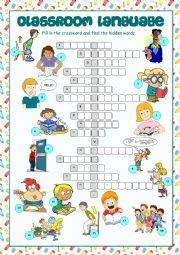 English Worksheet: Classroom Language Crossword Puzzle