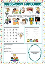 English Worksheet: Classroom Language Vocabulary Exercises