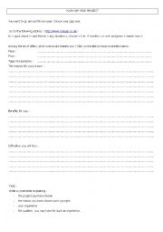 English Worksheet: Your gap year project
