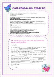 English Worksheet: CAN, COULD, BE ABLE TO