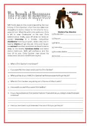 English Worksheet: Pursuit of Happyness and Job Interview