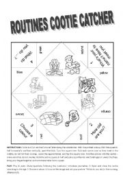 English Worksheet: Routines Cootie Catcher