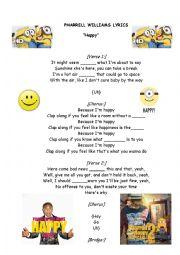Complete the lyrics, song Happy by Pharrell Williams - ESL ...