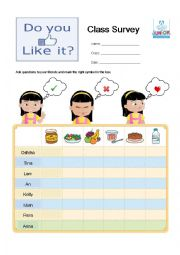 English Worksheet: Food Survey - I like, I don�t like