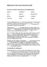 English Worksheet: Hikikomori