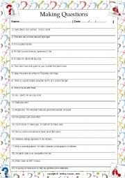 English Worksheet: ....:::: PRACTICE MAKING QUESTIONS - 01 ::::....