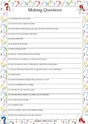 English Worksheet: ....:::: PRACTICE MAKING QUESTIONS - 03 ::::....