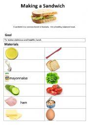 English Worksheet: Making a sandwich