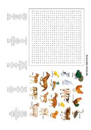 English Worksheet: Domestic Animals Word Search