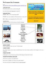 English Worksheet: European Day of Languages 26th September 2014