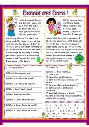 English Worksheet: Dennis and Dora