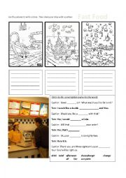 English Worksheet: Ordering Fast Food Conversation